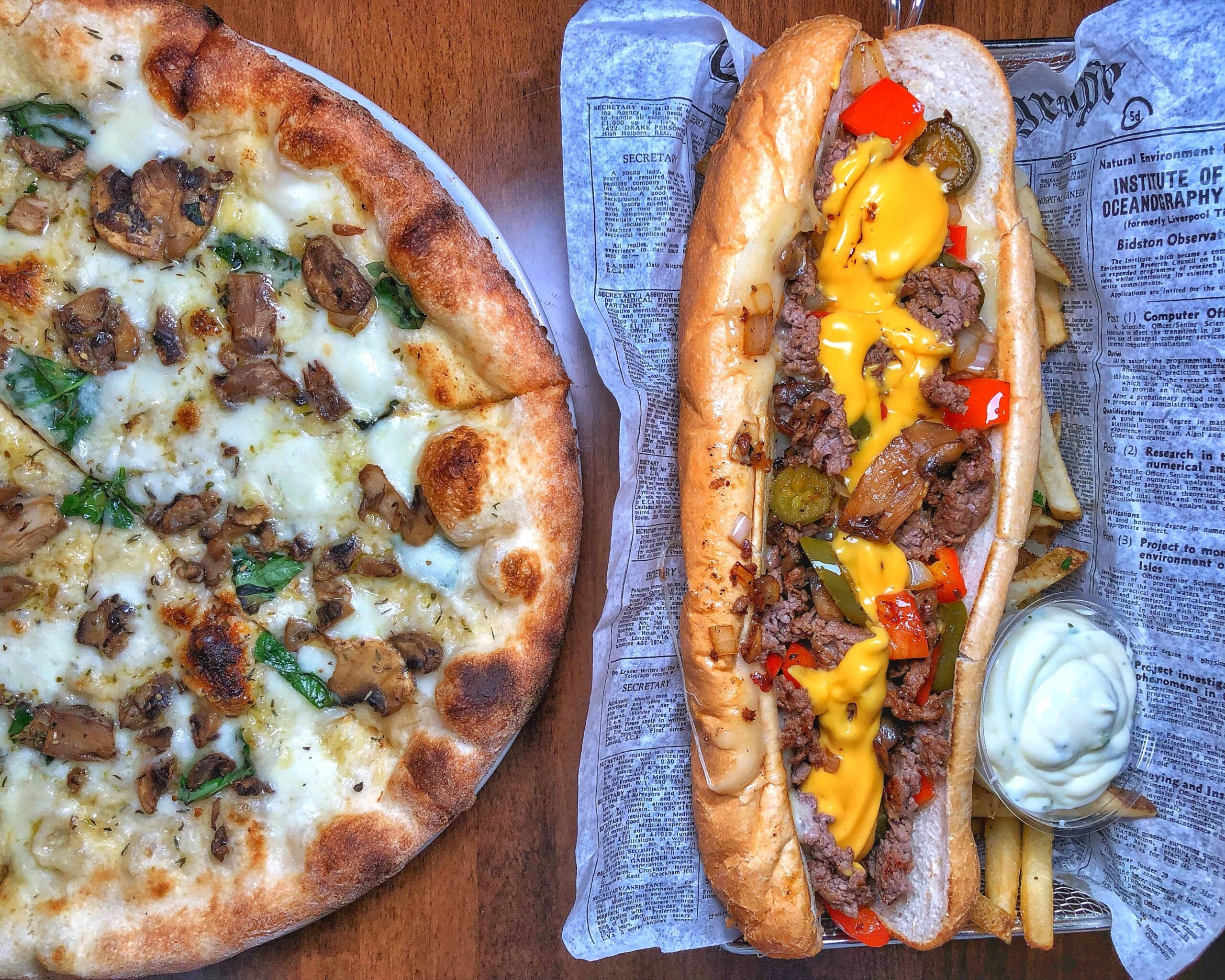 cheese steak and pizza